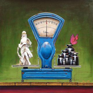 """""""Libra"""" ⠀70х70см ⠀холст, акрил ⠀ ⠀Ретровесы, Фемида и бабочка. ⠀Без лишних слов, свобода интерпретации и размышлений. Продаётся. ⠀ #ЧибисковПавел #художник #Картины #Живопись #Искусство #картинаназаказ #арт #холстакрил #паркгорького #pavelchibiskov #art #paintings #фемида #бабочка #весы #libra #themis #weight"""